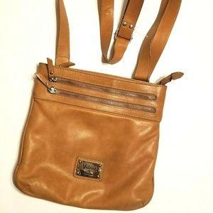 Valentina Italy Tan Leather Crossbody Bag